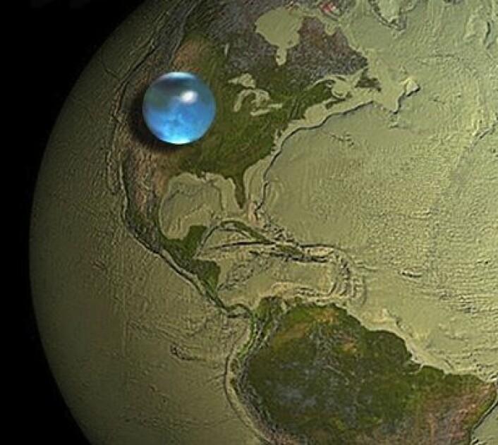 Tenk deg alt vannet på Jorda samlet på ett sted. Da ser det slik ut. Overrasket? (Foto: (James Cook fra Woods Hole Oceanographic Institution, Howard Perlman fra USGS))