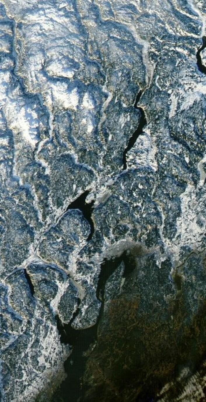Østlandsområdet sett fra NASAs satellitt Aqua 1. januar 2013. Litt snø og litt barmark. (Foto: (NASA Aqua MODIS))