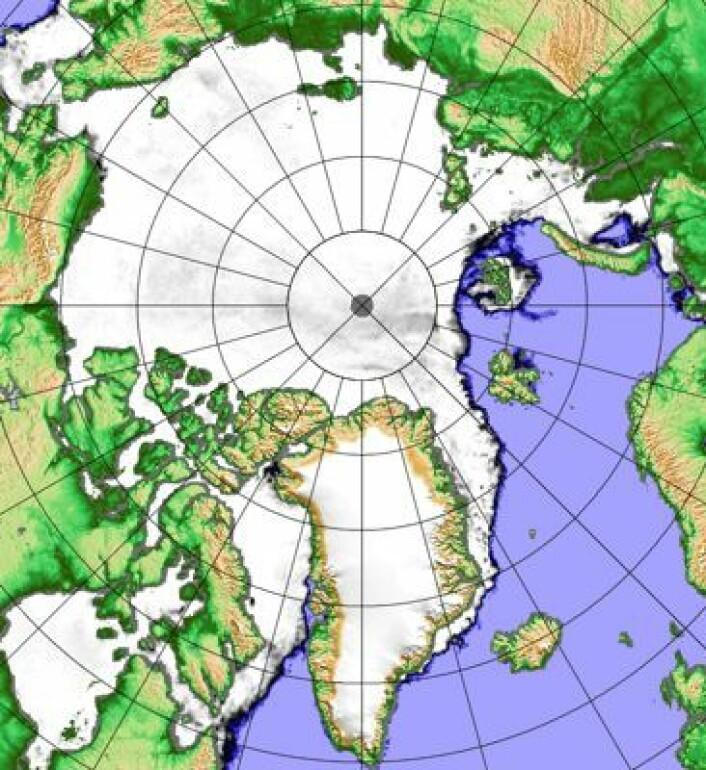 """Lite sjøis i """"vår"""" del av Arktis også denne vinteren. Her datert 10 januar. (Foto: (PolarView / Univ Bremen))"""