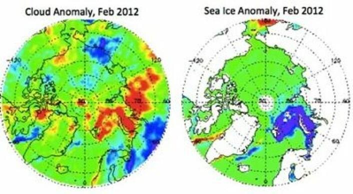 Februar 2012: Mer skyer (rødt i venstre bilde) der hvor det er mindre sjøis (blått i høyre bilde) enn vanlig. (Foto: (Fra Arctic Report Card 2012))
