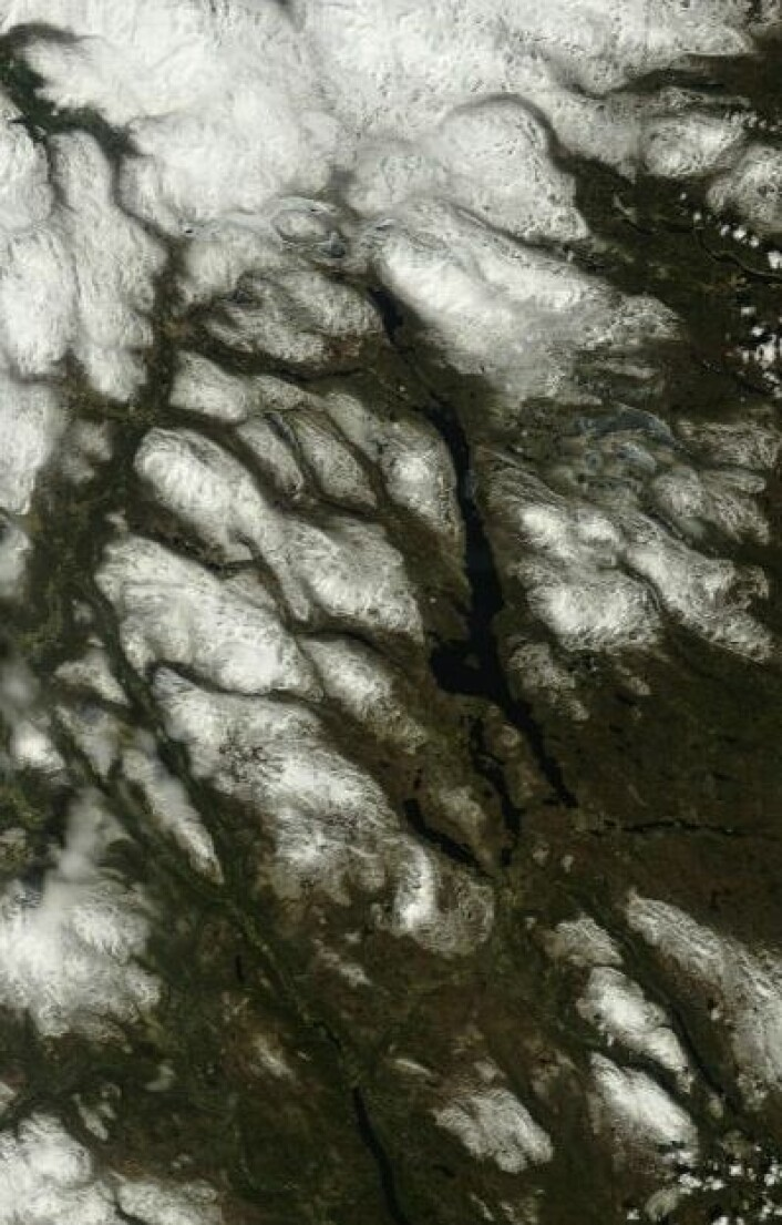 Åpent vann på Femunden 23. mai. Men jammen ligger isen fortsatt på Aursunden. (Foto: (NASA Terra MODIS))