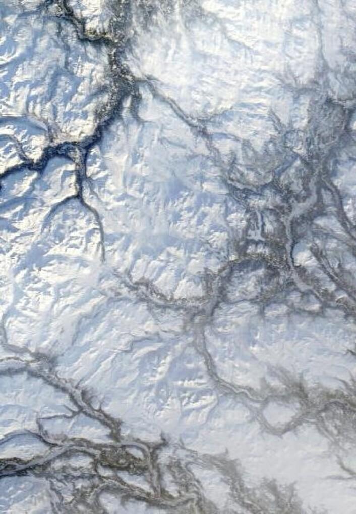Det kan være kaldt ved Rondane når det er klar himmel i januar, ja. Her sett fra NASAs satellitt Terra 18. januar. (Foto: (NASA Terra MODIS))