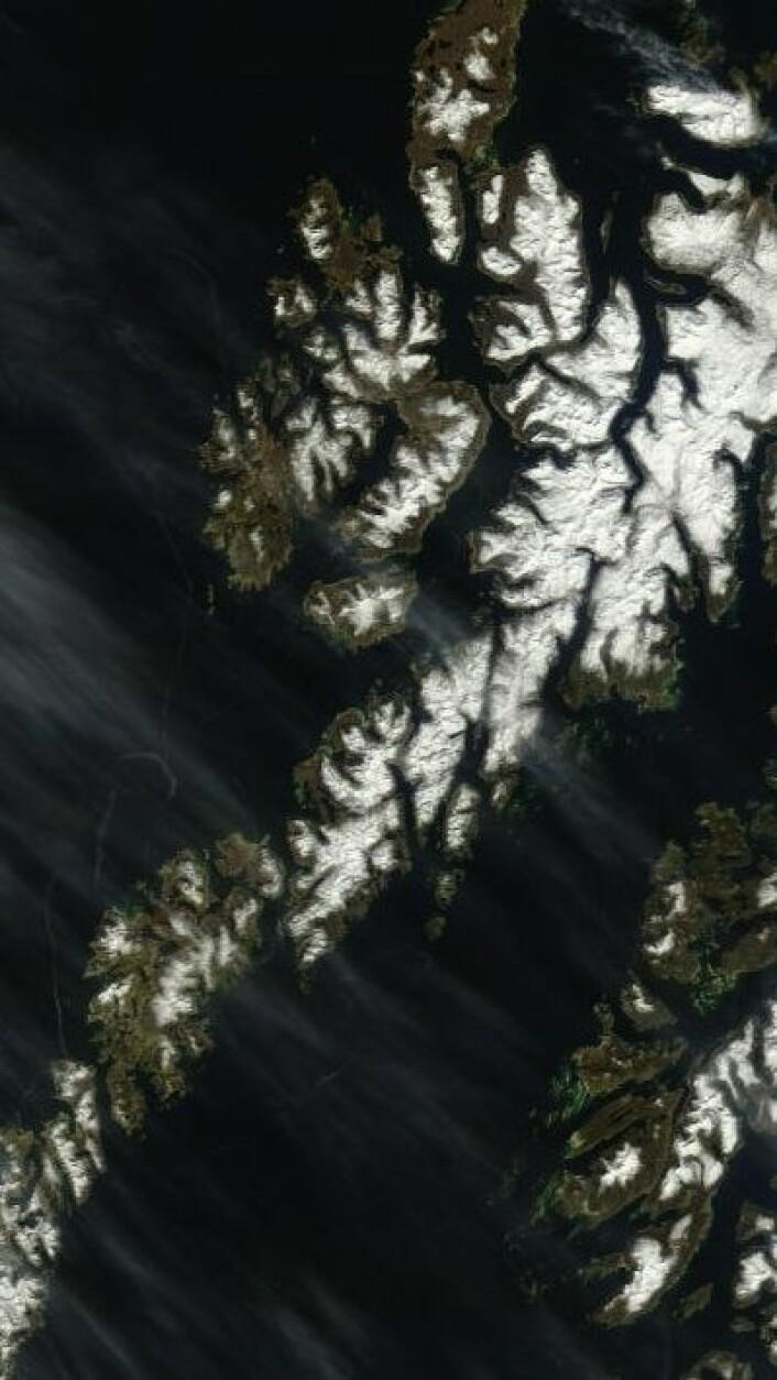 Lofoten og Vesterålen sett fra rommet 23. mai. Fortsatt noe snø oppe i høyden. (Foto: (NASA Terra MODIS))