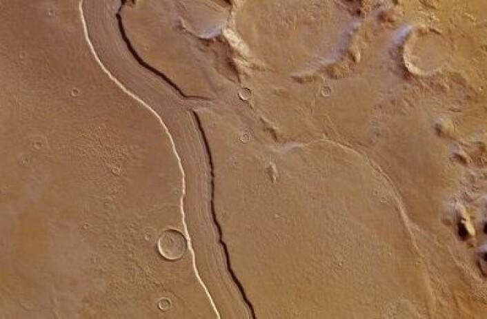 """Reull Vallis på Mars er et digert tidligere elveleie, her sett fra ESAs sonde Mars Express. Kanskje noen skylder 1800-talls astronomen Schiaparelli en unnskyldning? Han påstod jo at det var """"kanaler"""" på Mars! (Foto: (ESA/DLR/FU Berlin (G Neukum)))"""