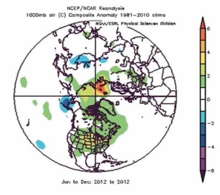 """Svalbard, Franz Josef Land og Novaja Zemlja var """"varmest"""" i verden 2012. (Foto: (NOAA))"""
