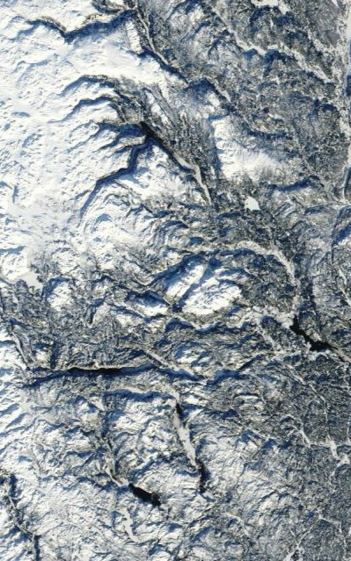 Telemark sett fra oven 23. januar 2013. (Foto: (NASA Terra MODIS))