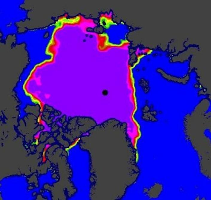 Sjøisen i Arktis 10. oktober. (Foto: (EUMETSAT osisaf.met.no))