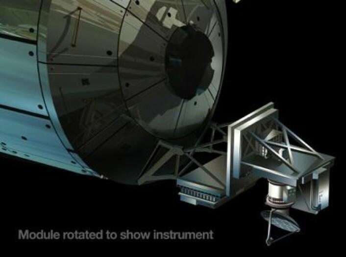 Her er radaren som skal monteres på Romstasjonen for å måle vind ved havoverflaten. Vi får håpe det ikke blir interferens-problemer med den norske AIS-mottakeren som allerede sitter der oppe. (Foto: (NASA))