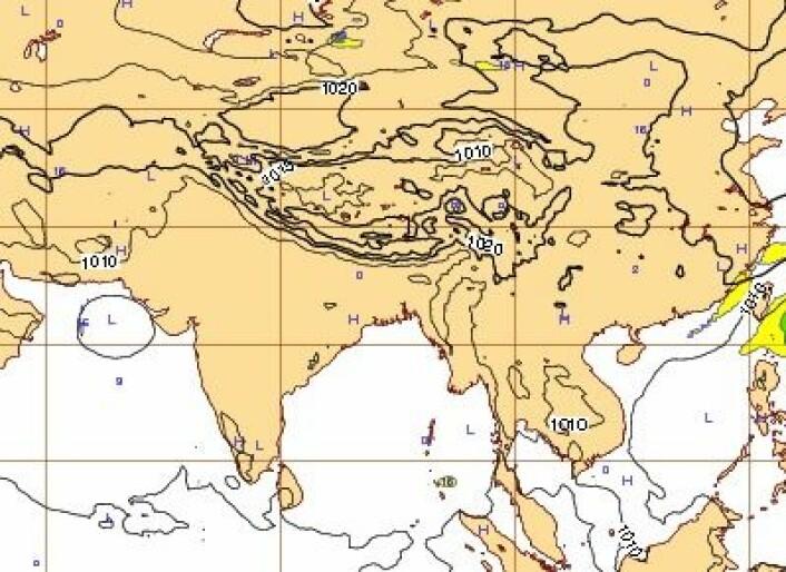 """Syv-dagers prognose for lørdag 12. okt. kl 12 UTC. Ingen """"Phailin"""" å se. (Foto: (ECMWF))"""