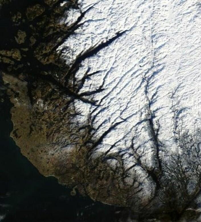 Februar startet med klarvær over mye av landet. Her er Jæren og dalstrøkene innenfor sett fra NASAs satellitt Terra 1. feb. (Foto: (NASA Terra MODIS))