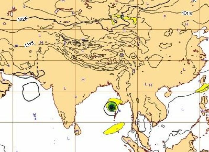 6-dagers prognose for lørdag 12.okt kl 12 UTC. Blir det storm i Det indiske hav? (Foto: (ECMWF))