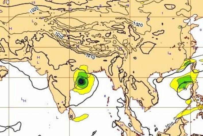 4-dagers prognosen for lørdag 12. oktober kl 12 UTC. Ganske presis allerede. (Foto: (ECMWF))