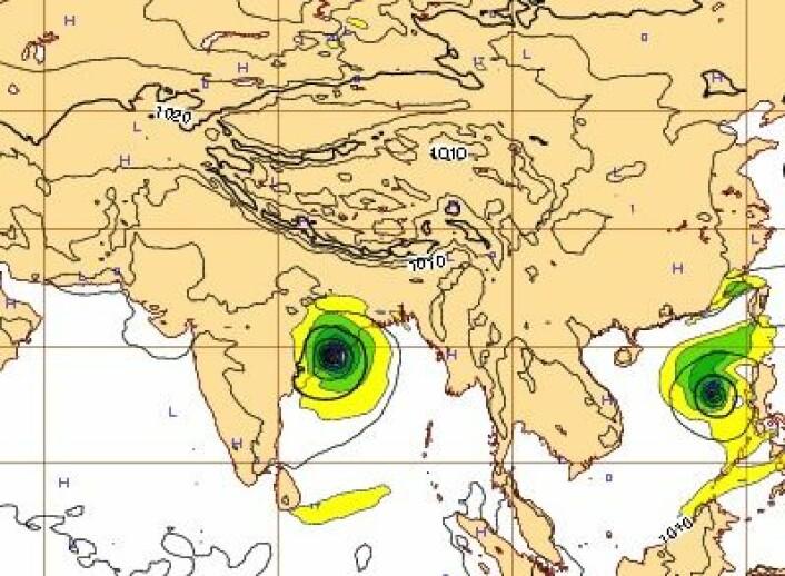 Værprognose for lørdag 12. oktober kl 12 UTC, beregnet to døgn i forkant. Et meget presist varsel. (Foto: (ECMWF))
