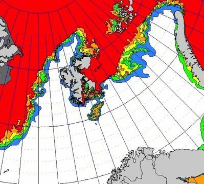Iskart for 7. februar. Kanskje det blir litt sjøis ved Bjørnøya før denne vinteren er over? (Foto: (met.no))