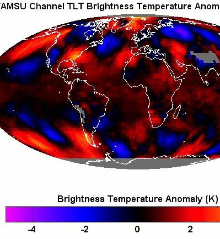 Avviket fra januar-normalen for temperatur i nedre troposfære, iflg RSS. Dessuten var det veldig varmt i Australia. (Foto: (RSS))