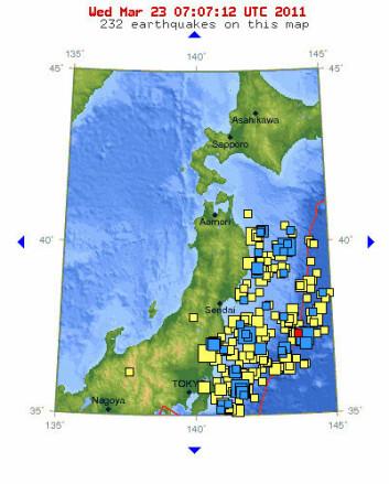 Jordskjelv nær Japan siste uke. (Figur: usgs.gov)