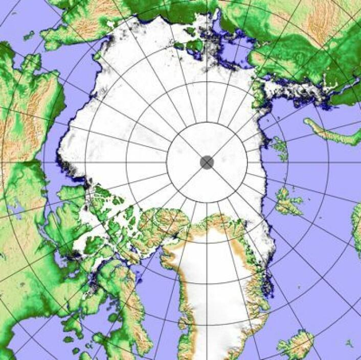 Sjøisen i Arktis 17. oktober. (Foto: (Univ Bremen, basert på data fra AMSR2 (JAXA)))