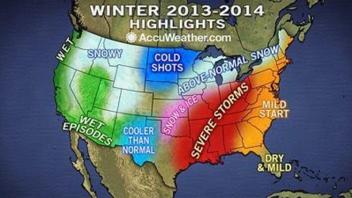 Slik blir vinteren! Et eksempel på minimalistisk amerikansk værvarsling ... (Foto: (Accuweather.com))