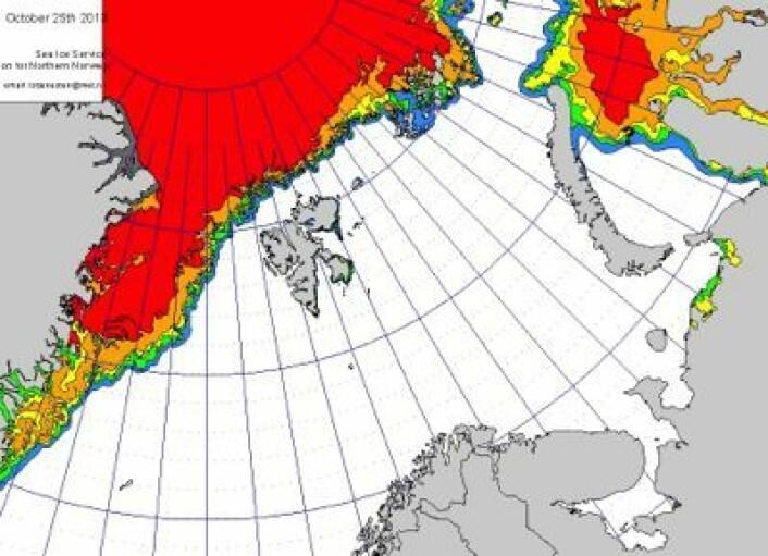 Iskart for våre farvann, produsert 25. oktober. (Foto: (MET))