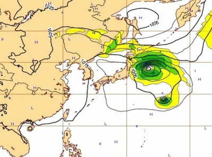 """7-dagers prognosen for """"Francisico"""" utstedt fra ECMWF 18. oktober. I så fall ville Tokyo vært i trøbbel 24-25 oktober. (Foto: (ECMWF))"""