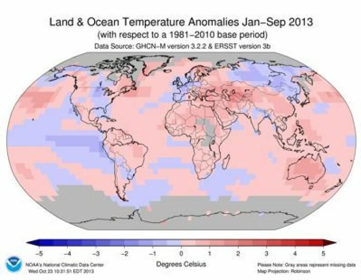 Året 2013 så langt: Varmt i Australia og i Finnmark, forholdsvis kjølig i Vest-Europa. (Foto: (NOAA))
