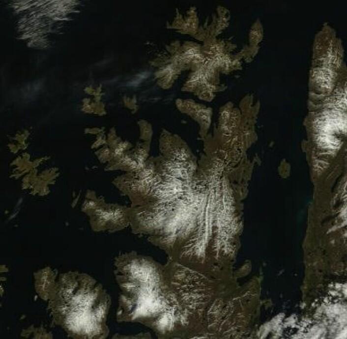 Porsangerhalvøya og Nordkapp sett fra NASAs satellitt Terra 17. juni. (Foto: (NASA Terra MODIS))