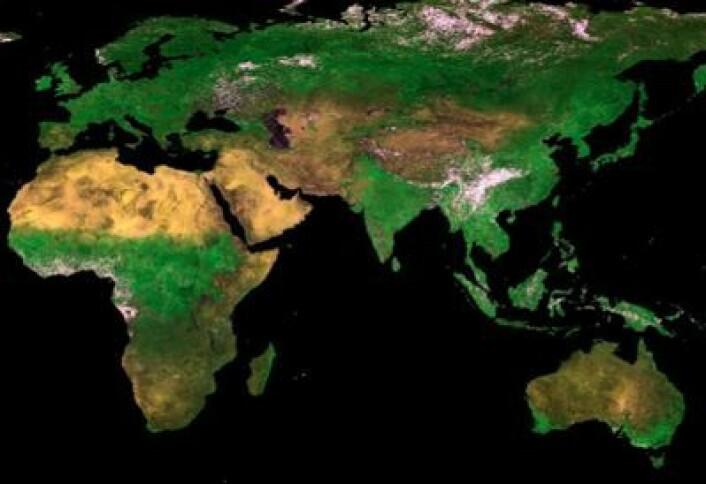 Et (nesten) skyfritt kompositt-bilde tatt i perioden 1 - 10 september fra den lille ESA-satellitten PROBA-V. (Foto: (ESA))