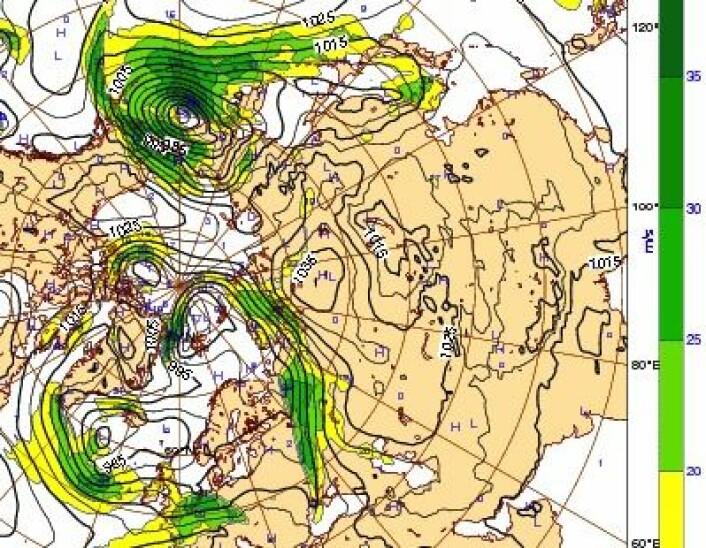 Værkart for Arktis 7. november kl 00 UTC. Grønn farge viser sterk vind. (Foto: (ECMWF))