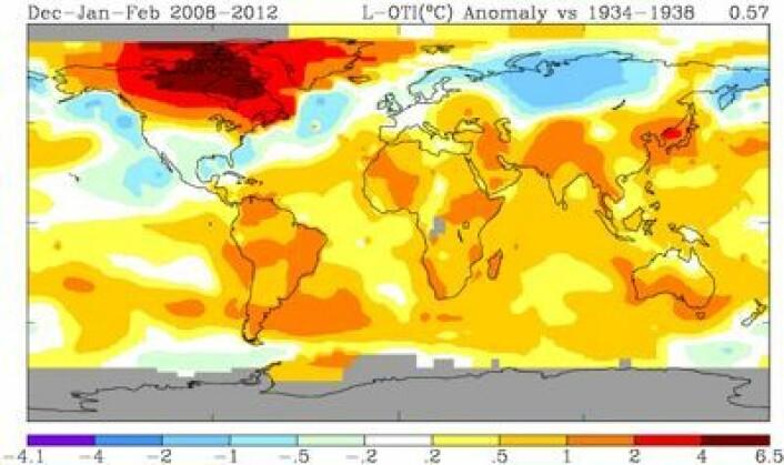 Temperaturforskjell mellom de fem (nordlige) vintrene 2008-2012 og vintrene 1934-1938. (Foto: (NASA GISS))