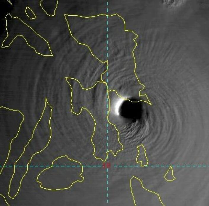 """Tyfonen """"Haiyan"""" sett fra japansk værsatellitt da den traff Filippinene. (Foto: (Japansk værvarsling))"""
