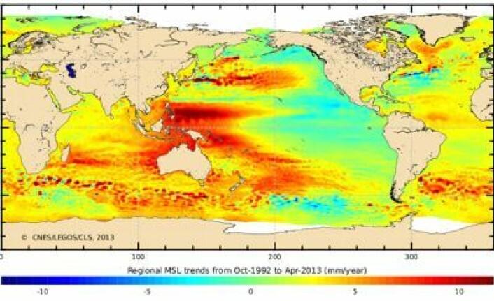 Endring i havnivå i perioden okt 1992 - april 2013, målt med høydemålersateliitter. Mest økning ved Filippinene. (Foto: (CNES/LEGOS/CLS))