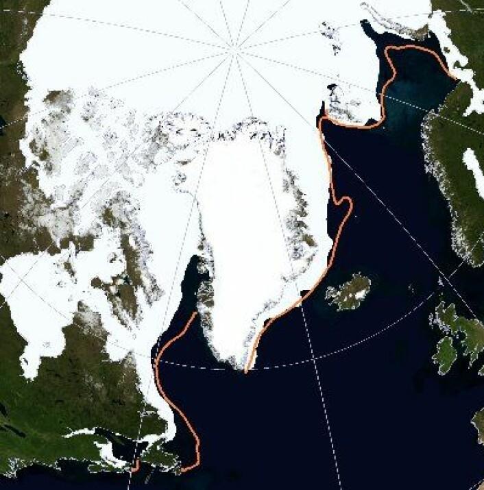 Fortsatt mye mindre sjøis enn vanlig i Arktis, og nå går det snart mot sol og sommer... (NSIDC)