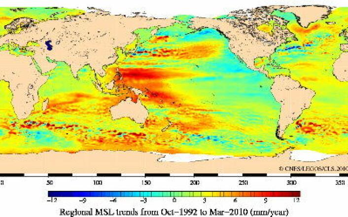Endringer i havnivå siden rutinemessige altimetermålinger startet i 1992. (CNES/LEGOS/CLS)