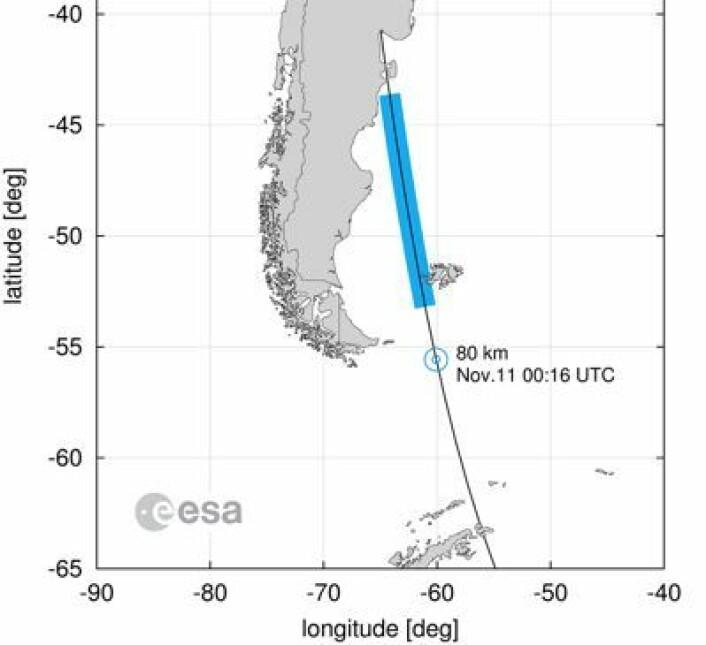 Punktet der GOCE gikk i stykker, og området der man mener vrakrester kan ha falt ned (blått). (Foto: (ESA))