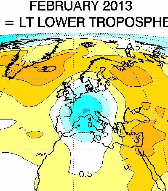 Europa februar 2013 i nedre troposfære, målt fra satellitt. (Foto: (UAH))