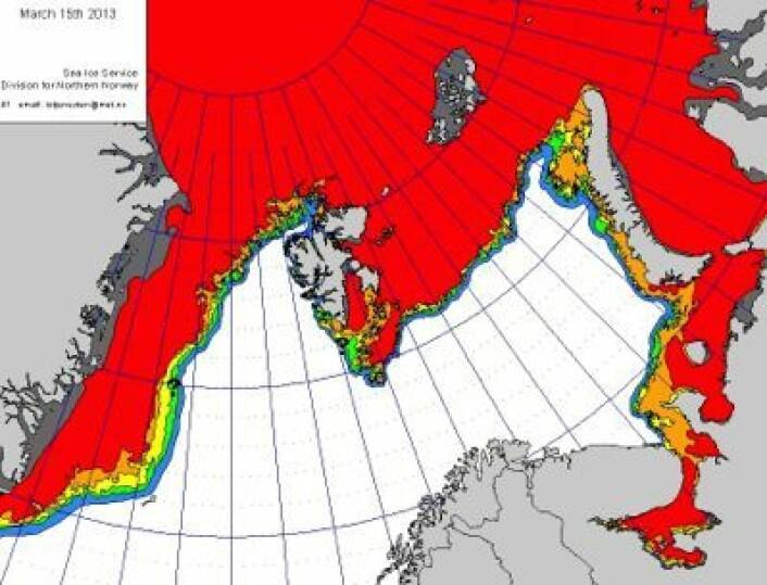Drivisen har nesten tettet igjen farvannet nord for Svalbard nå. Og det flyter litt drivis rundt Bjørnøya. (Foto: (met.no))
