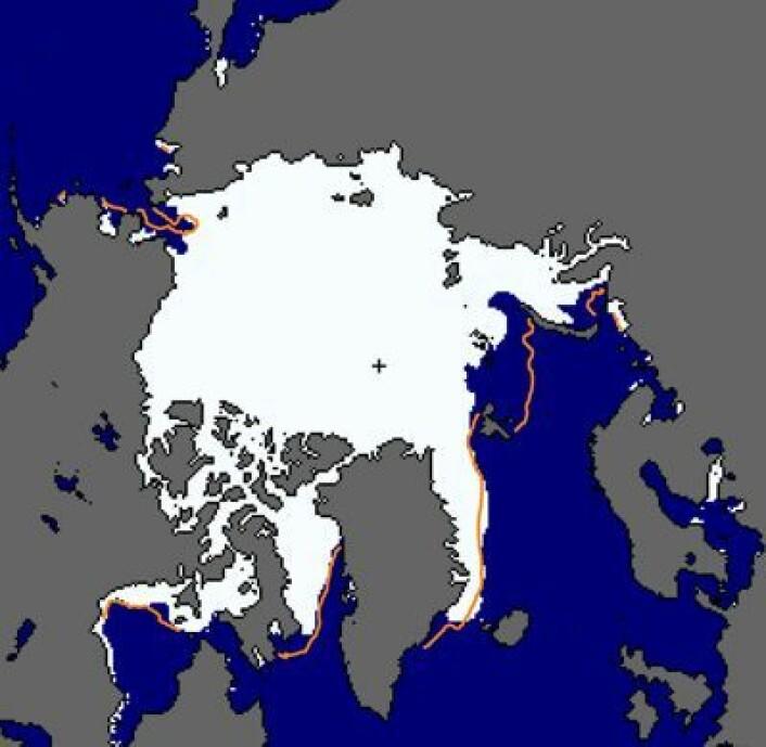 Isdekket i Arktis 21 nov. Medianen for perioden 1981-2010 er også vist. (Foto: (NSIDC))