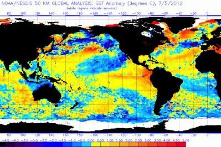 Satellittmålt temperatur i havoverflaten 5. juli. Store kontraster både i Stillehavet og Atlanterhavet. (Foto: (NOAA))