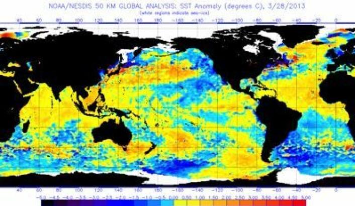 Satellittmålt temperatur i havoverflaten 28. mars. Er det noe ENSO-show på gang i Stillehavet? (Foto: (NOAA))
