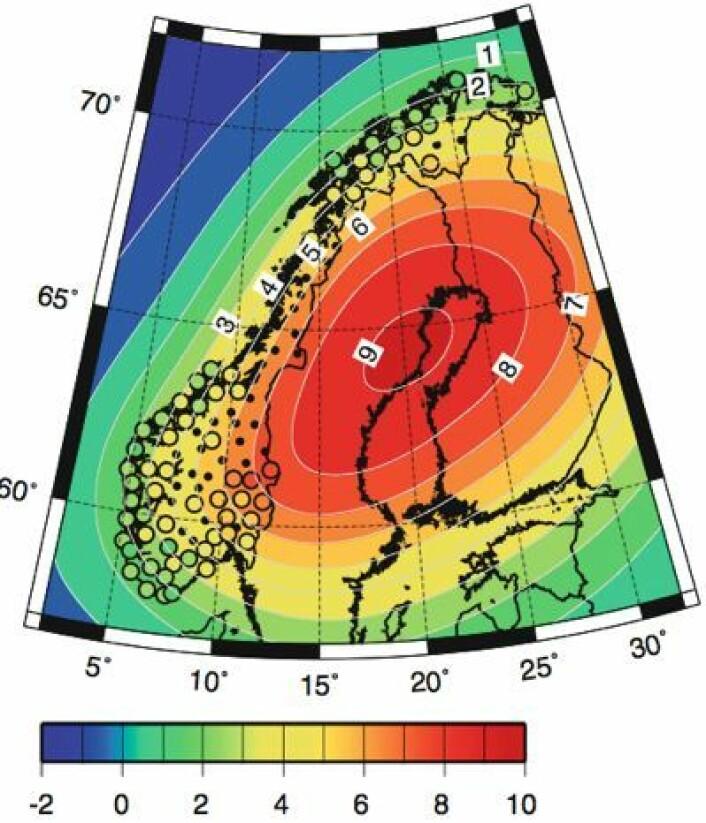 Slik stiger landet - basert på geodetisk teori og GPS-målinger. (Foto: (Simpson, Breili & Kierulf, Clim.Dyn. 2013))