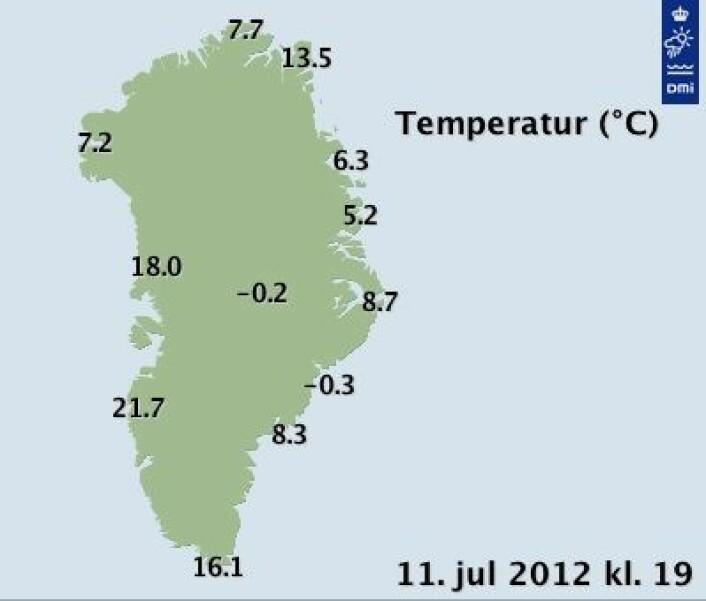 Godt og varmt på Grønland om dagen. Slik var det onsdag kveld. (Foto: (DMI))