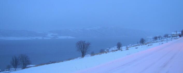 Kveøya i Kvæfjord i snødrev og mørketid. (Foto: Øystein A. Vangsnes)