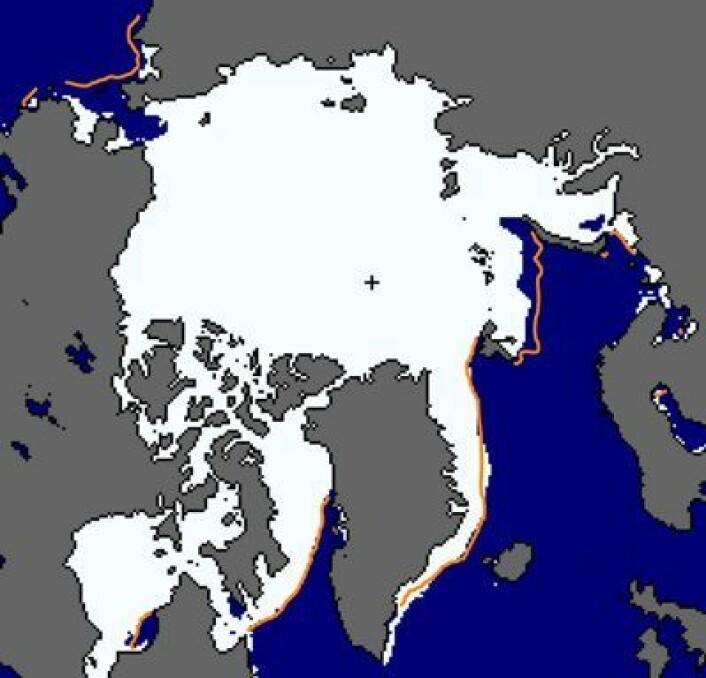 Beringstredet og det nordlige Barentshavet har lite sjøis nå. Ellers som normalt. (Foto: (NSIDC))