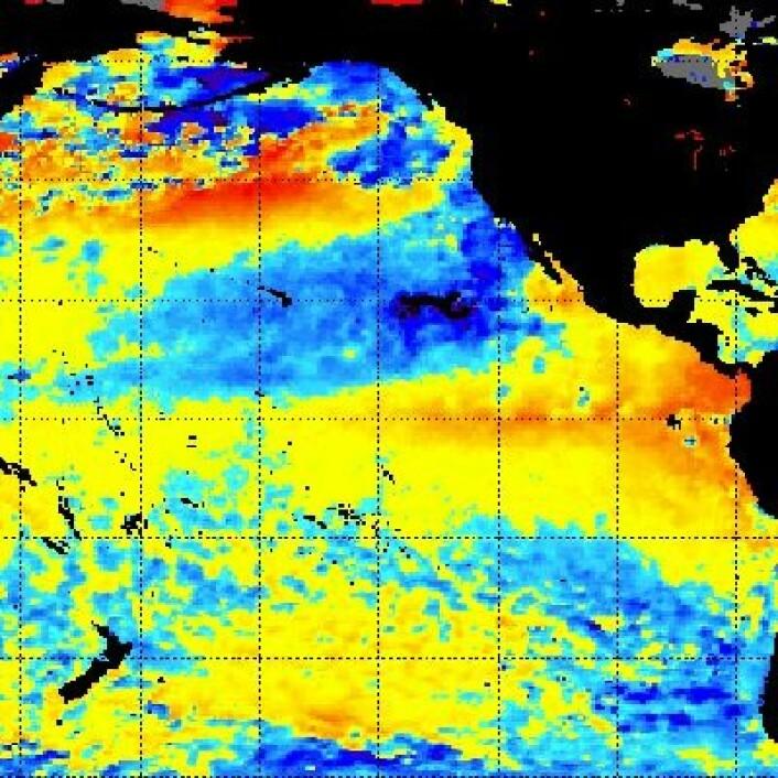 Satellittmålt temperatur i havoverflaten i Stillehavet 16. juli. (Foto: (NOAA))