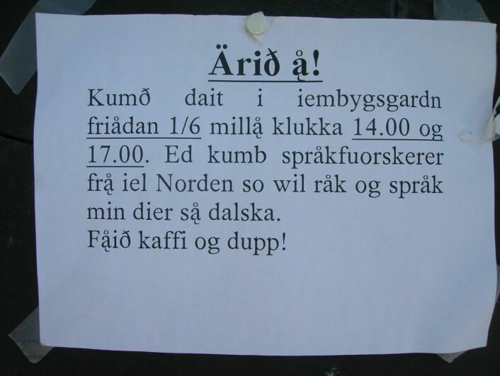 """Innkalling på elvdalsk til møte med nordiske språkforskarar. Foto: Øystein A. Vangsnes"""