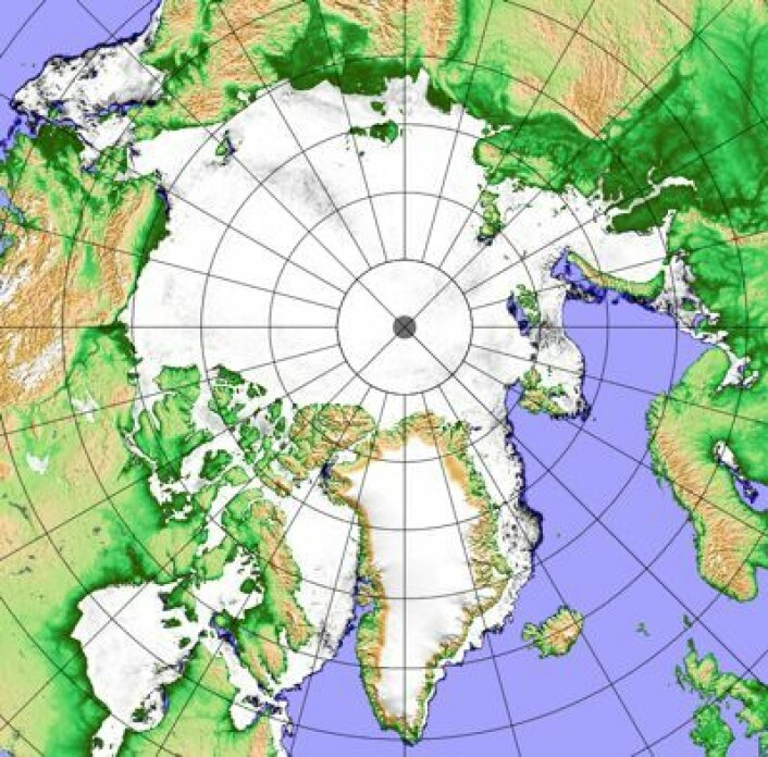 Iskart for 4. april, basert på Shizuku-instrumentet AMSR2. (Foto: (Analyse ved Univ Bremen, basert på data fra JAXA))