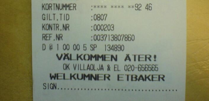 """""""Welcome back!"""" i Övdalian. Bensinkvittering frå Älvdalen. (MMS-foto: Øystein A. Vangsnes)"""
