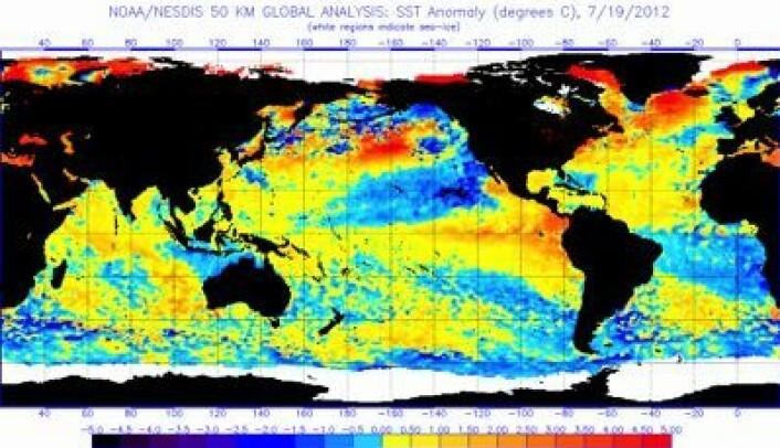 Prognose 4: Det utvikler seg en full El Ninjo i Stillehavet, og global havoverflatetemperatur fortsetter å stige. Her er avviket fra normalen 19. juli. (Foto: (NOAA))