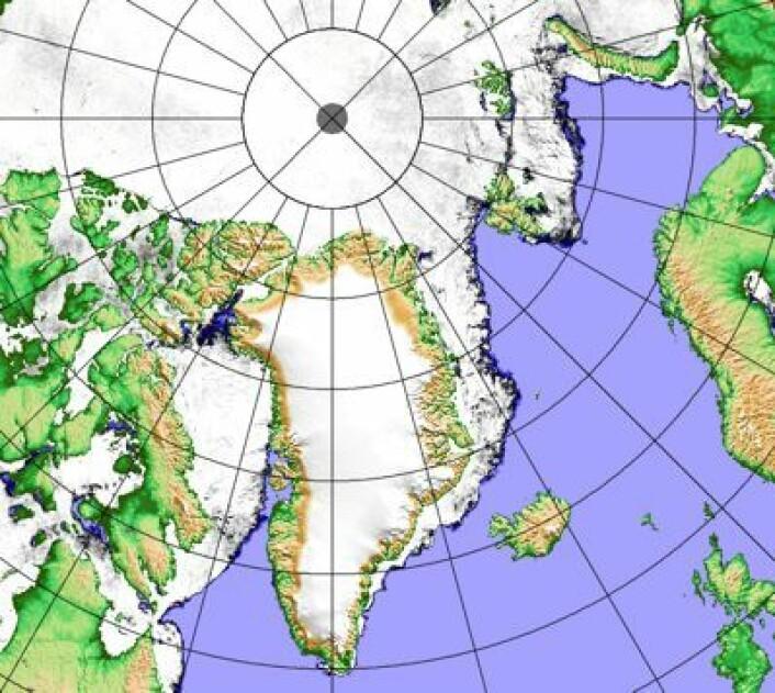 Iskart 11. april basert på data fra AMSR2. Åpent hav ved Thule nå, mens det er drivis ved sydspissen på Grønland. (Foto: (PolarView/Univ Bremen))