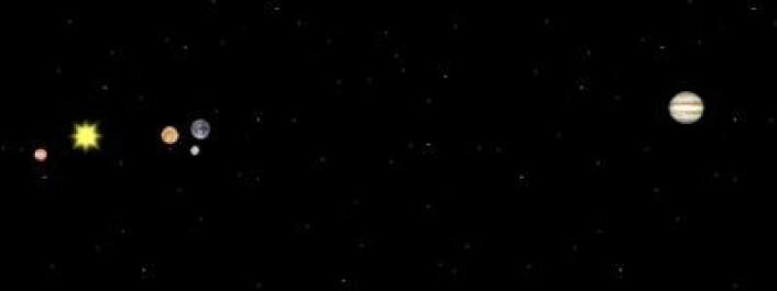 6. januar 2014. Fra venstre: Merkur, Sola, Venus, Jorda/Månen, Jupiter. (Foto: (Solar System Simulator))
